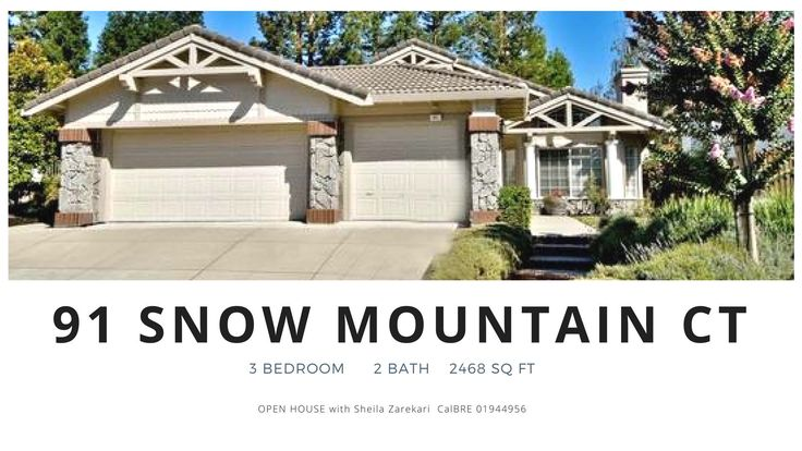 3 bedroom 2 bath in Danville CA  https://gp1pro.com/USA/CA/Contra_Costa/Danville/Shadow_Creek/91_Snow_Mountain_Ct.html  OPEN HOUSE: April 8th & 9th  Saturday & Sunday from 1PM to 4PM.  Call Sheila Zarekari, our top producing realtor at 925.788.7975 for help to buy this gorgeous 3 bd, 2 bath, 2,468 sq ft, one-story home in a well-sought area of Shadow Creek in Danville CA. Open, cathedral ceilings in the main living areas with an adorable bar perfect for entertaining. Fabulous kitchen with…