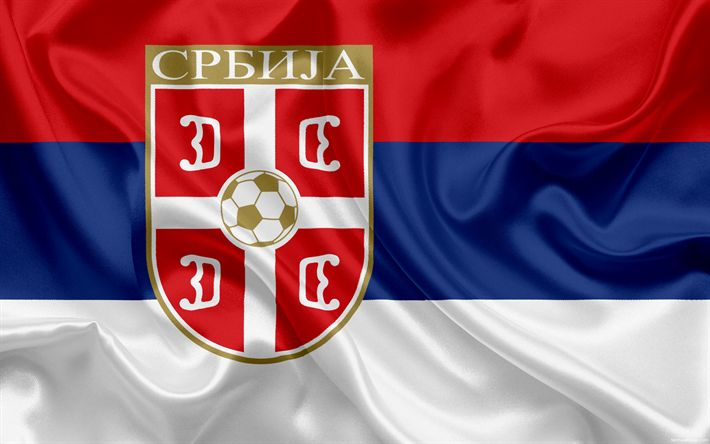 Download wallpapers Serbia national football team, emblem, logo, football federation, flag, Europe, flag of Serbia, football, World Cup