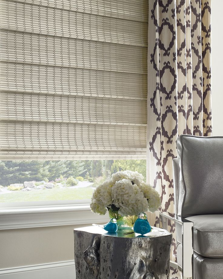Naturally chic and beautifully refined, the hand-woven materials of Provenance® Woven Wood shades make a stylish complement to any decor. ♦ Hunter Douglas window treatments