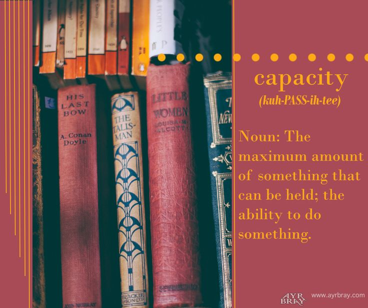 Capacity - Noun: the maximum amount of something that can be held; the ability to do something. This definition brought to you by regency historical author Ayr Bray, who is also a Jane Austen fan or Janeite. Her favorite book is Pride and Prejudice.