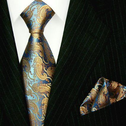 Lorenzo Cana - Luxury Italian 100% Silk Woven Tie Hanky Set Blue Gold Paisley - 8420601