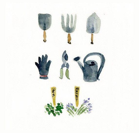 Gardener Tools art print, Garden tools watercolor print, fathers day, mothers day, gardener tools fun art, green thumb gift, gardener gift – Gardening & Outdoor Ideas