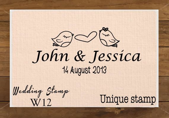 Love Bird, Monogram, Custom Wedding Stamp, RSVP, Love is Sweet, Gift for Couple, Housewarming Gift Mounted Rubber Stamp W12 on Etsy, 6,00 €