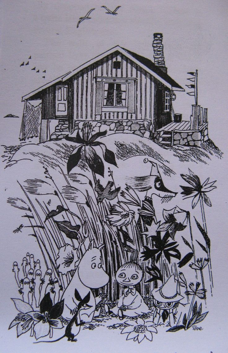 Moomin, Snufkin, some Hattifatteners, a Fillyjonk and Little My, outside Tove Jansson's house on the Finnish island of Bredskär