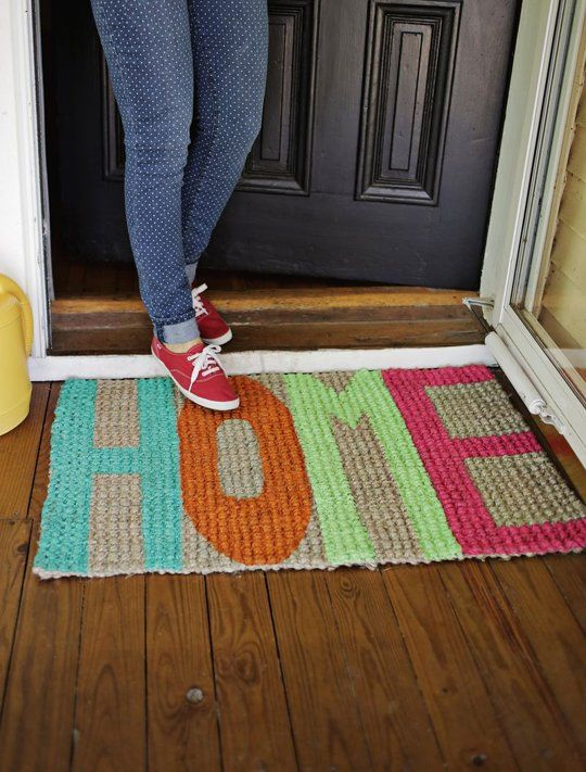 DIY Project Idea: Update An Old Doormat With Paint! A Beautiful Mess | Apartment Therapy
