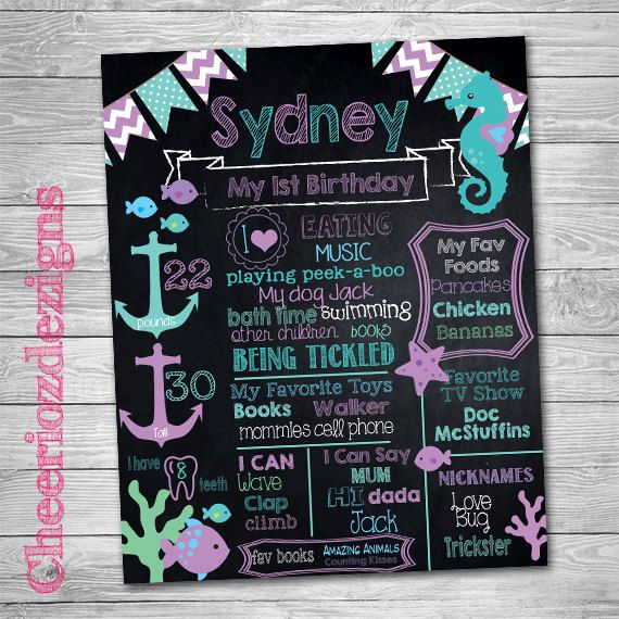 Under The Sea Birthday Chalkboard Sign Printable - 1st Birthday Sign - 1st Birthday Chalkboard Poster - First Birthday by CheeriozDezigns on Etsy