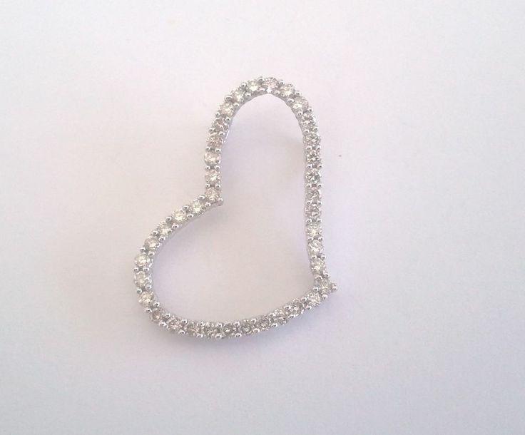 The 18 best diamond pendants 10k 14k 18k images on pinterest 10k 10kt white gold heart pendant 12 carat of diamonds necklace slide charm aloadofball Gallery