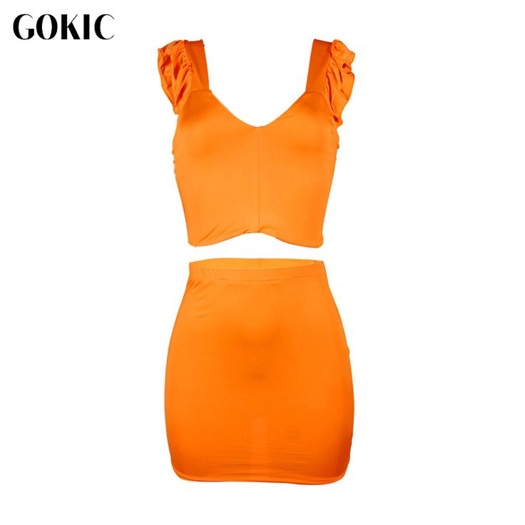 GOKIC Women's Sexy Mini Dress 2017 New Two Pieces Ruffles Sleeveless Strap Club Night Orange V-Neck Dress Evening Party Dresses #Affiliate