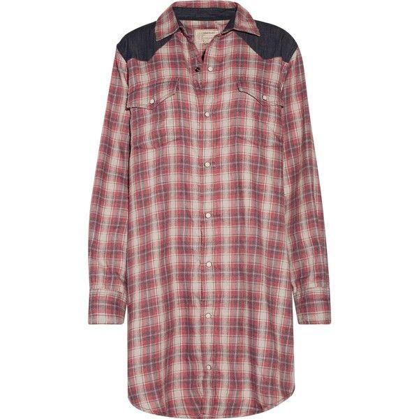 CURRENT/ELLIOTT   The Western denim-paneled plaid flannel mini shirt... ($130) ❤ liked on Polyvore featuring dresses, western dresses, plaid shirt dress, cowgirl dresses, flannel shirt dress and red shirt dress