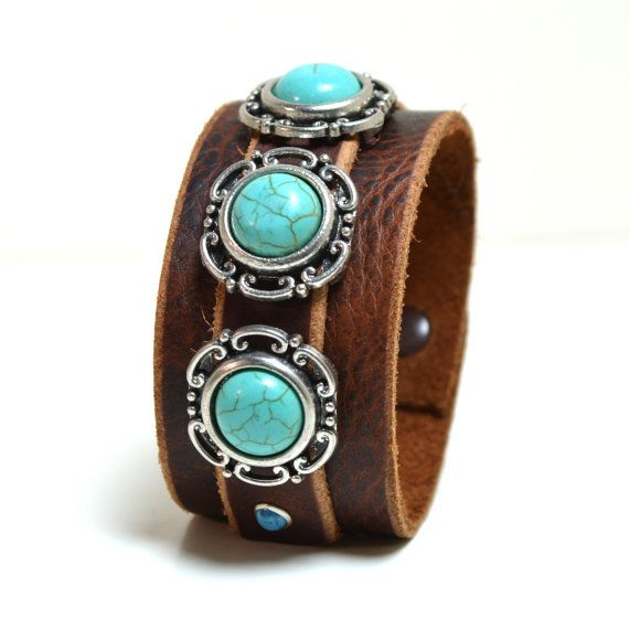 TAOS Leather Cuff Bracelet with Turquoise Stone Accents on Etsy, $44.81