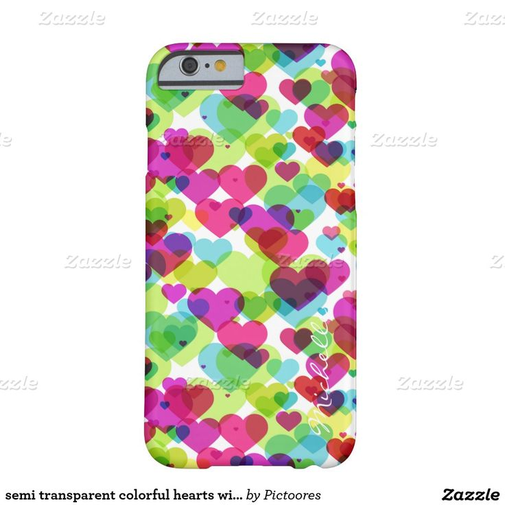 semi transparent colorful hearts with name barely there iPhone 6 case