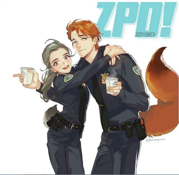 Los personajes de Zootopia en versión anime |