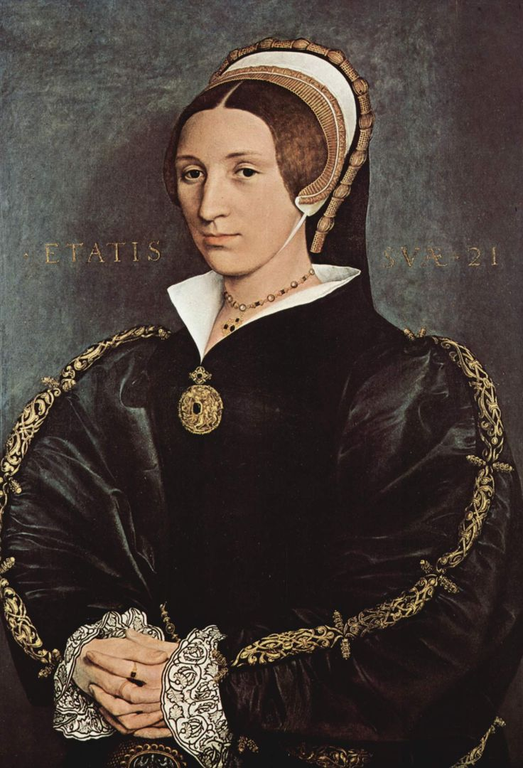Formerly thought to be Catherine Howard, by Hans Holbein the Younger, 1540-41.  Now believed to be Lady Elizabeth Seymour, sister of Lady Jane Seymour, Henry VIII's third queen, and married, as her second husband to Gregory Cromwell, 1st Baron Cromwell, son of Thomas Cromwell.