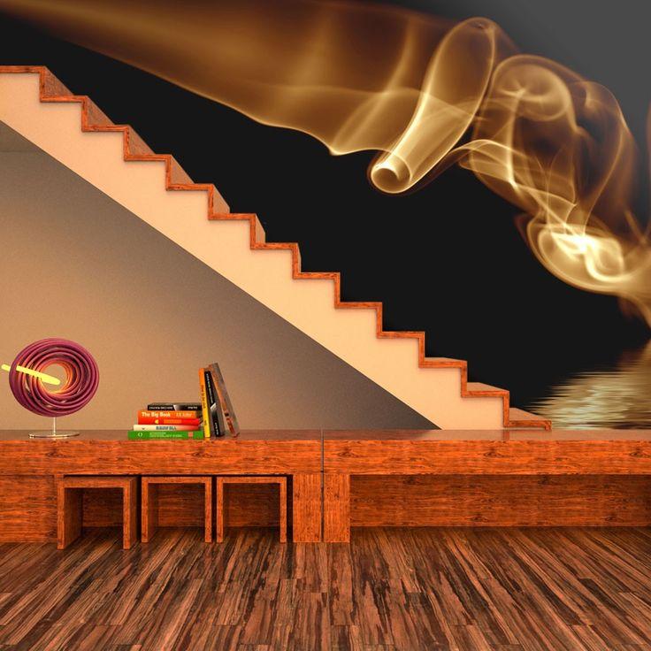 Fototapeta - Pomarańczowy abstrakcyjny dym na czarnym tle