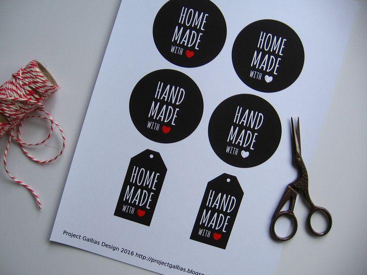 Etykiety tagi do produktów handmade, do wydruku - Projectgallias - Etykiety