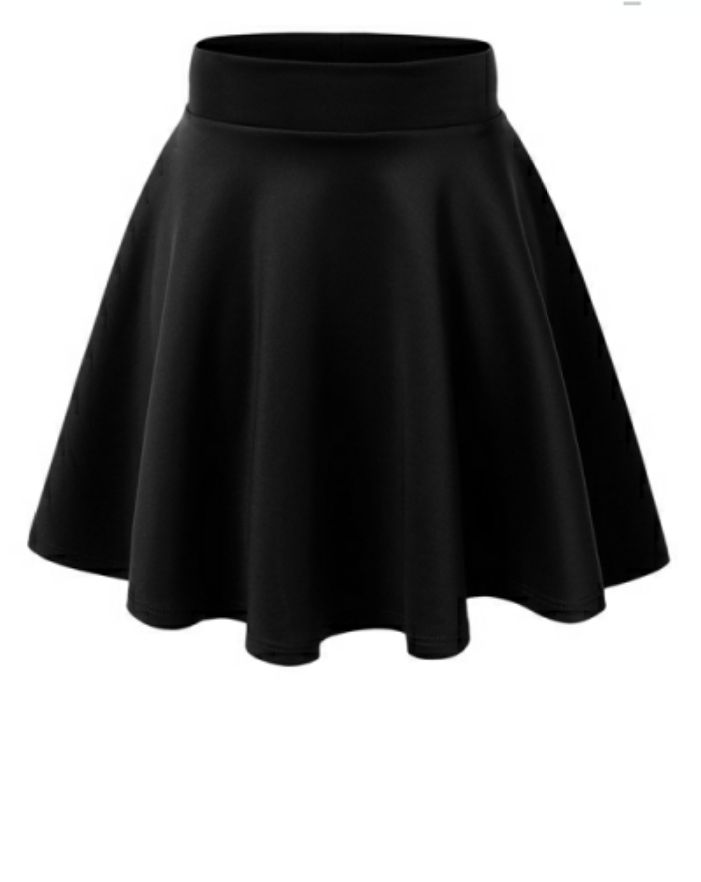 Black Skater Skirt, Pull on Stretch