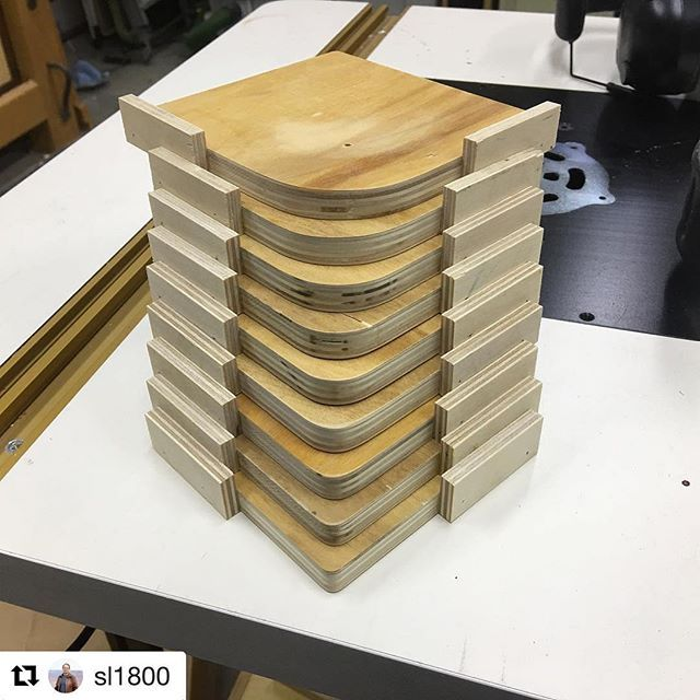#Repost @sl1800 - Steve made a set of corner radius jigs. It's the tower of radii :) Nice work! ・・・ Made myself a set of corner radius jigs today using info in a video from @toolify  Great video Kriss, your technique worked like a charm.