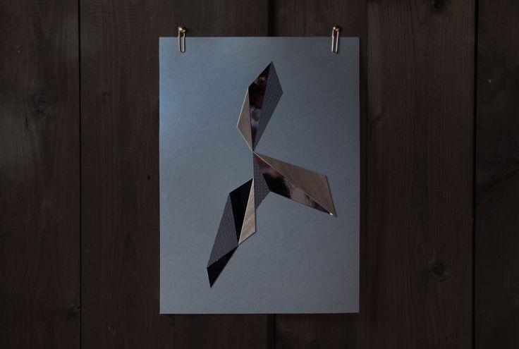 Geometric paper cut formation by Laura Faurschou. A3  in blue, grey, wood, mirror