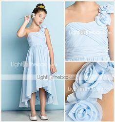 Asimétrica Raso Vestido de Dama de Honor Junior - Mini Yo Corte en A Sobre un Hombro con Flor(es) / En Cruz 2994177 2016 – $69.99