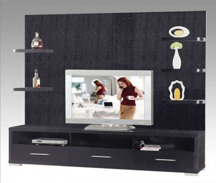Best Collection Of Modern Living Room Wall Unit Ideas : Contemporary Black  TV Wall Unit With Edge Shelving System And Three Drawers For Livi.