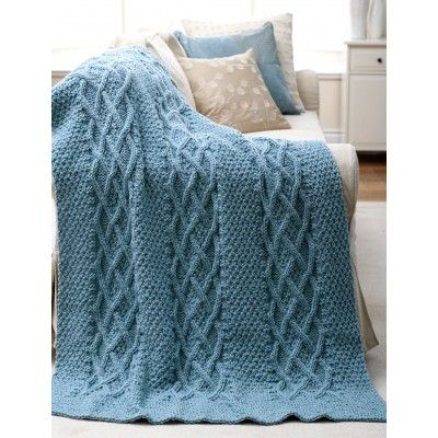 Cushy Cables Afghan Free Knitting Pattern from Yarnspirations. Rich textured afghan with intricate cable panels. Shown in Patons Decor. Free Pattern
