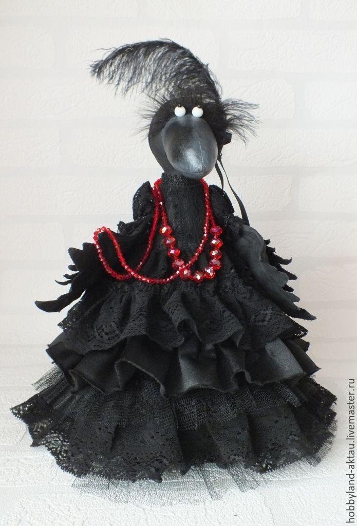 Купить Ворона Дама в черном - черный, ворона, грунтованный текстиль, дама в черном, подарок женщине