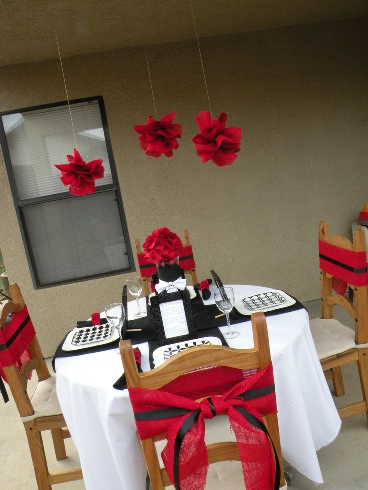 ... red party decor  RS Birthday Dinner  Pinterest  The ribbon, Belle