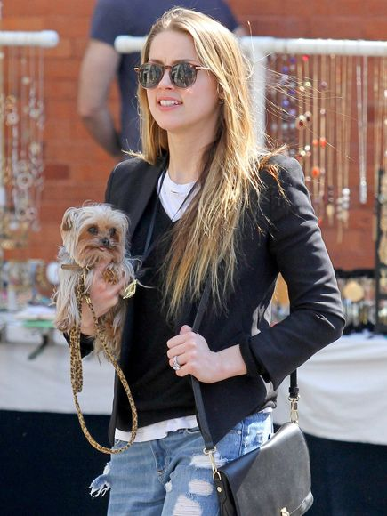 Soon-to-be Mrs. Depp (a.ka. Amber Heard) spent some quality time with her precious pooch, while sporting retro round tortoise sunnies!: Simple Photo