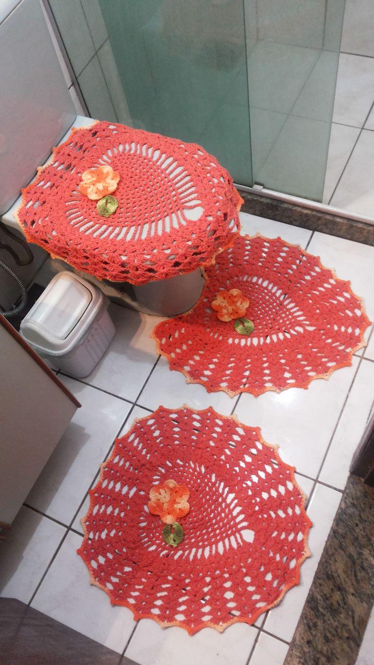Jogo de banheiro laranja
