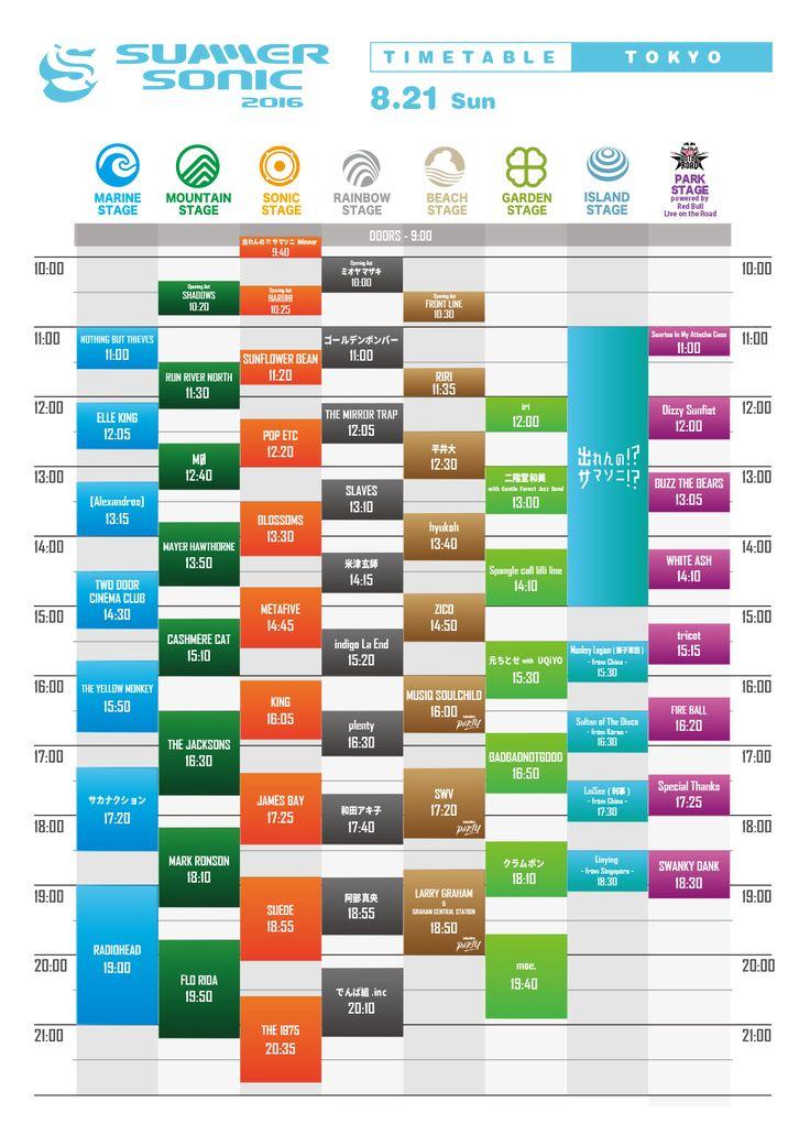 TIMETABLE - SUMMER SONIC 8.21 SUN | SUMMER SONIC 2016