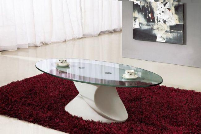 Nice coffee table glass oval design –