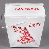 Fold-Pak 08WHPAGODM 8 oz. Pagoda Chinese / Asian Paper Take-Out Container with…