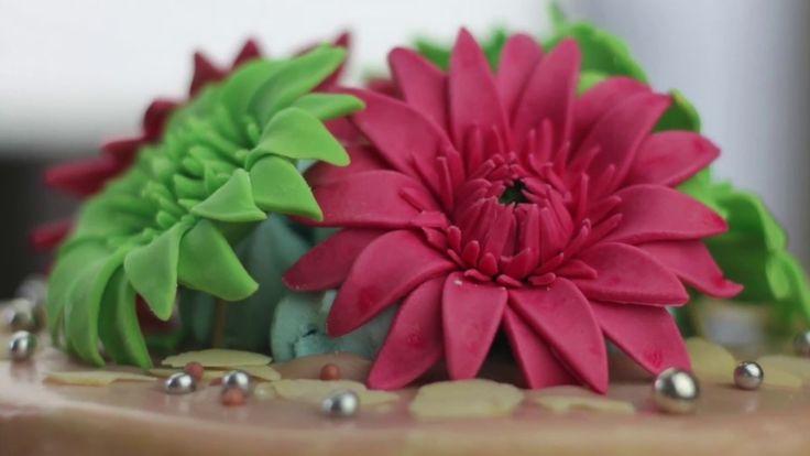 orchideli -gerbera z lukru, kwiatek z lukru, fondant flower, fondant gerbera tutorial