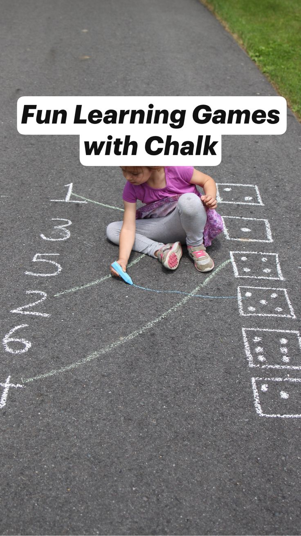 Fun Learning Games with Chalk Preschool Learning Activities, Preschool At Home, Kids Learning Activities, Infant Activities, Educational Activities, Teaching Kids, Activities For Preschoolers, Outside Activities For Kids, Math Games For Kids