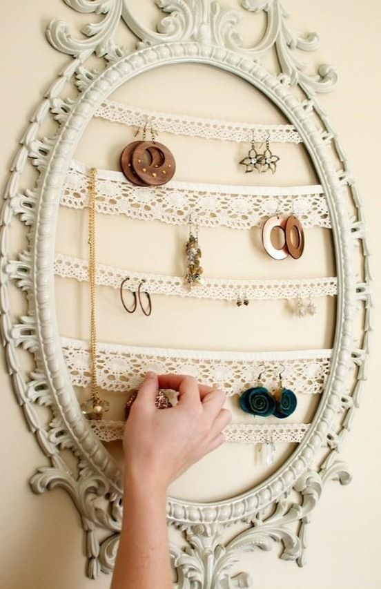 Mirror Frame with lace strips - Pretty earring holder!