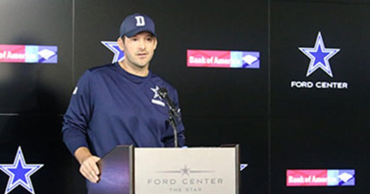 Tony Romo reads a statement to the media regarding his current status with the Cowboys.