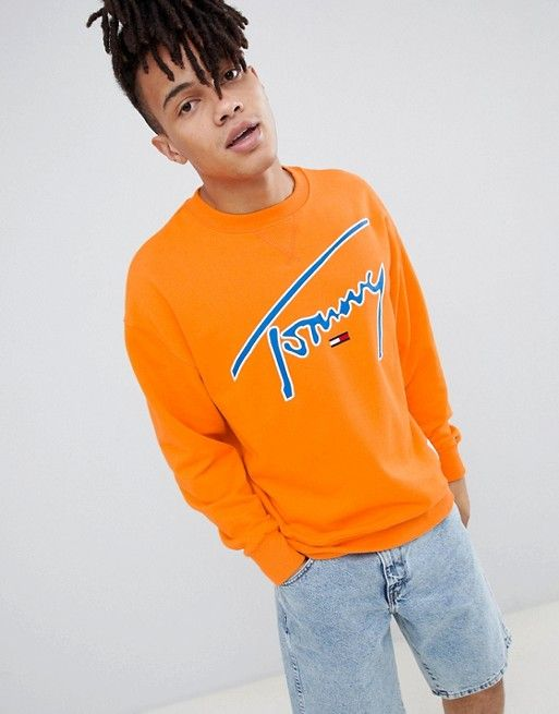 0f933f63 Tommy Jeans Signature Capsule logo front sweatshirt relaxed fit in orange