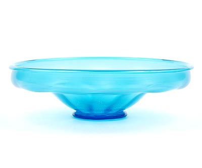 Light-blue glass lobbed bowl serica no.3 with crackle and on applied glass stand design A.D.Copier 1928 executed by Glasfabriek Leerdam / the Netherlands