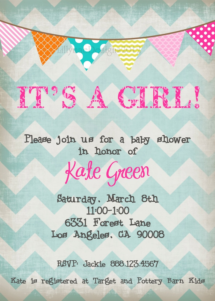 Love the look and colors of this invitation. Just sayin!   Chevron Baby Girl Shower Invitation