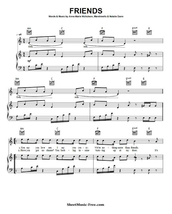 Friends Sheet Music Anne Marie With Images Sheet Music Piano