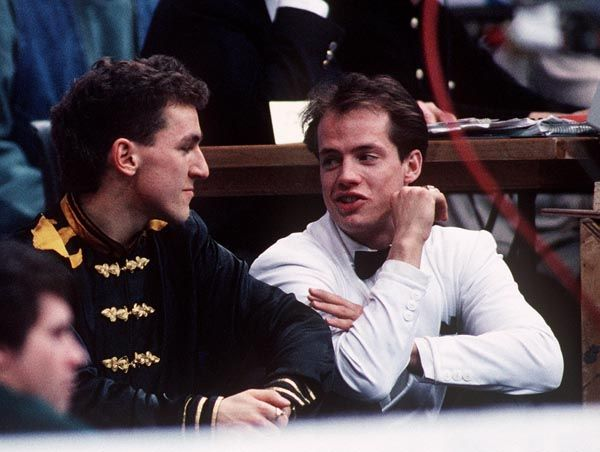 Canada's Kurt Browning and Elvis Stojko during a break from competition at the 1994 Lillehammer  Olympics