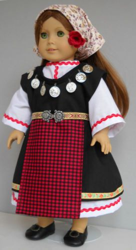 "Fits 18"" American Girl doll Bulgaria Bulgarian dress clothes H (COSTUME ONLY)"