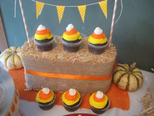 Candy corn cupcakes on a perfect harvest party table setup