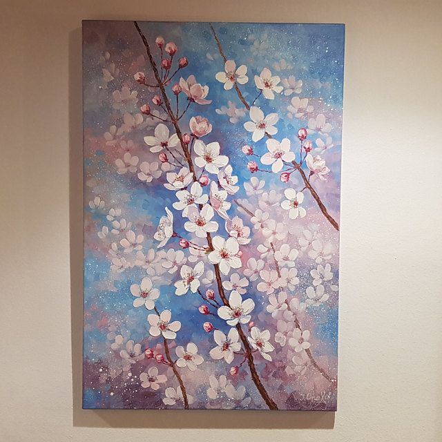 Cherry Blossom Painting Flower Large Vertical Wall Art Cherry Etsy Cherry Blossom Painting Cherry Blossom Wall Art Cherry Blossom Painting Acrylic