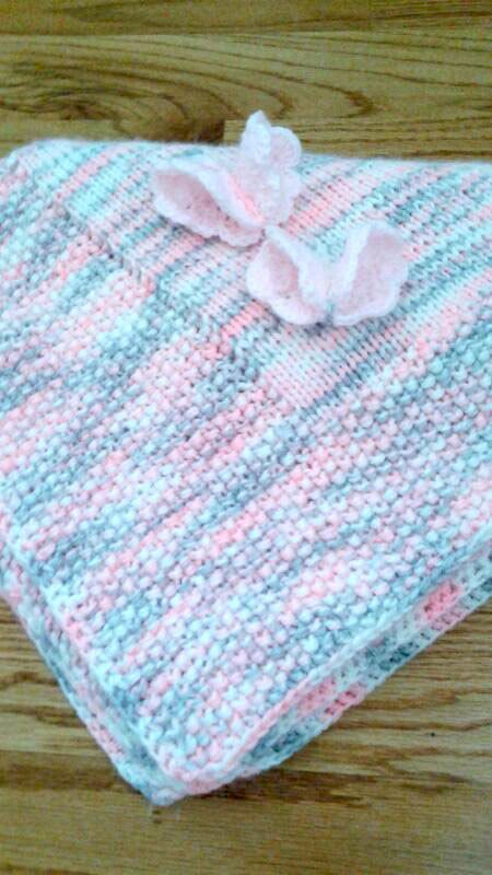 Knit Baby Blankets Pink Gray - Baby Blanket Handmade Butterfly Decorated - Shower Stroller Blanket - Baby Girl Gift Soft Cute Blanket - pinned by pin4etsy.com