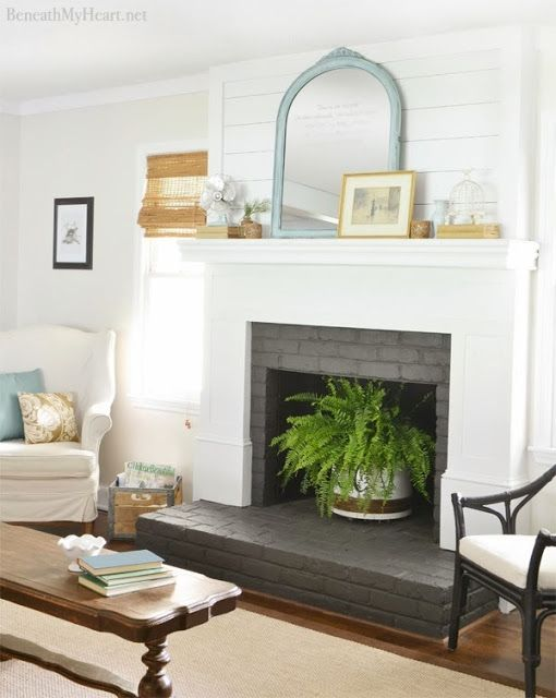 Dear Lillie Gray Painted Brick Fireplace
