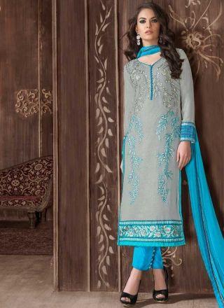 Grey Sky Blue Embroidery Work Georgette Pakistani Designer Suit http://www.angelnx.com/Salwar-Kameez/Pakistani-Suits