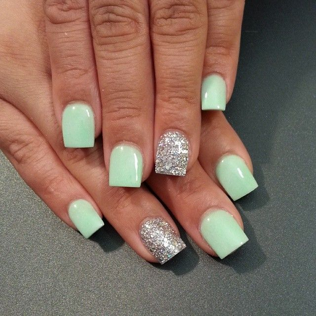 1336 best nails images on pinterest nail art nail designs and light sea green and silver nail polish design give life to that matte sea green nail polish by adding a striking coat of silver glitter polish for accent prinsesfo Gallery