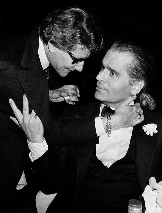 Yves Saint Laurent and Karl Lagerfeld photographed by Roxanne Lowit.