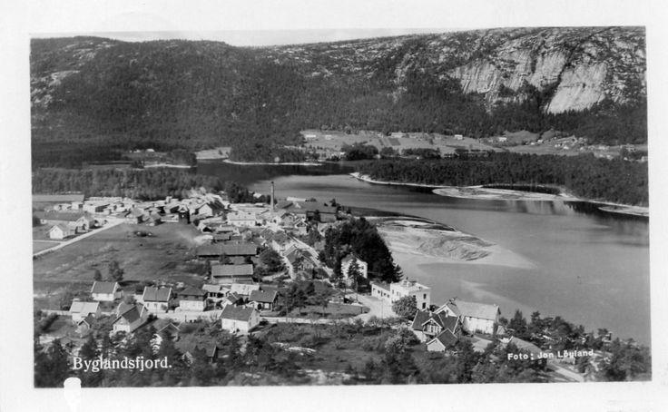 Byglandsfjord. Mange hus og fabrikk. Stmp.Longerak 1939 Foto: J. Løyland
